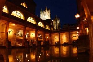 Torch lit Roman baths