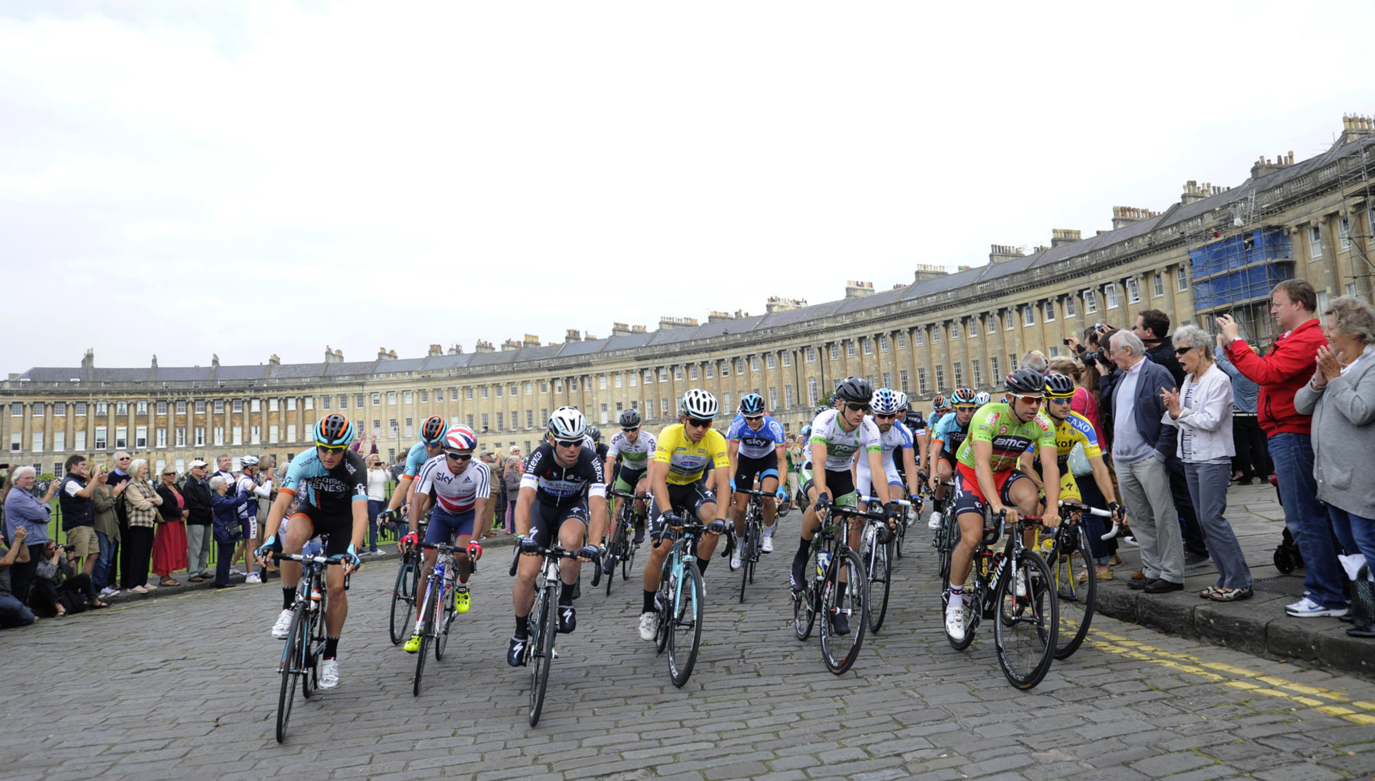 Tour of Britain taking place outside the royal crescent.